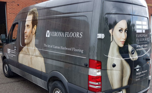 Full vinyl wrapped van for Toronto flooring comany