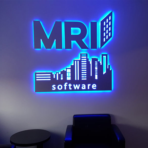 blue led illumination reception sign