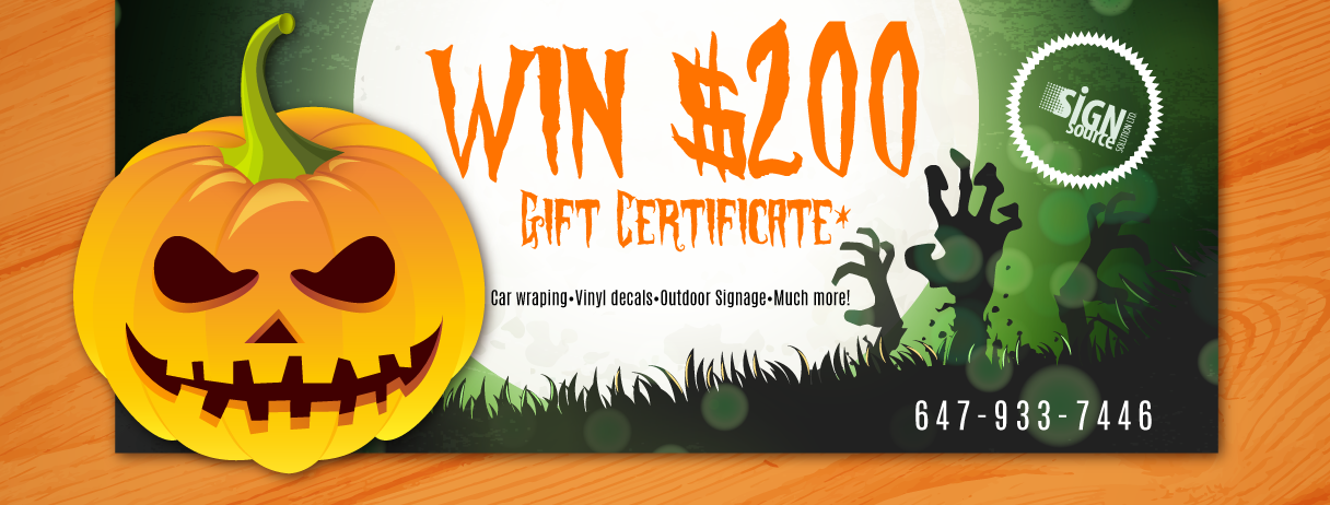 Enter Sign Source Solution 2016 Halloween $200 Gift Card Giveaway
