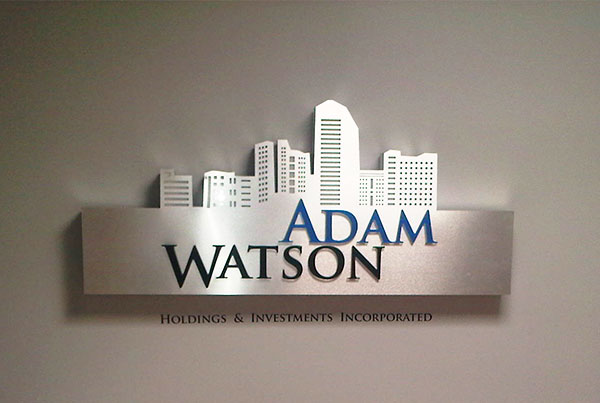 company reception logo sign