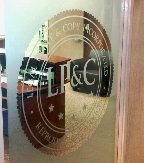 frosted vinyl company logo on office glass door