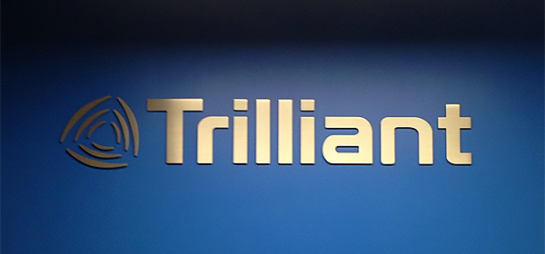 large reception logo sign for tridant