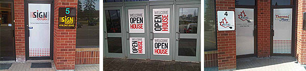 perforated graphic glass door signs
