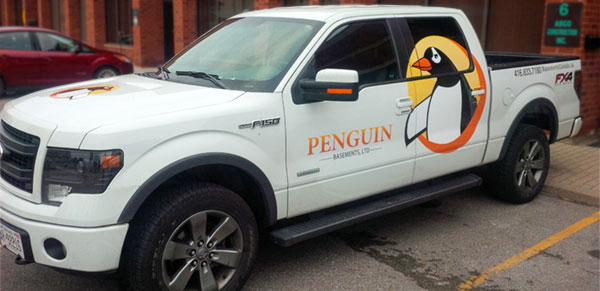 pickup truck with decal and vinyl wrap