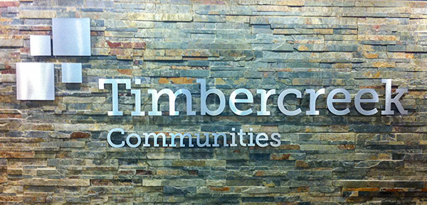 steel pin mounted logo reception sign in brushed aluminum toronto