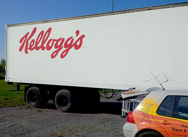 A wrap on a Kellogg's tractor trailer