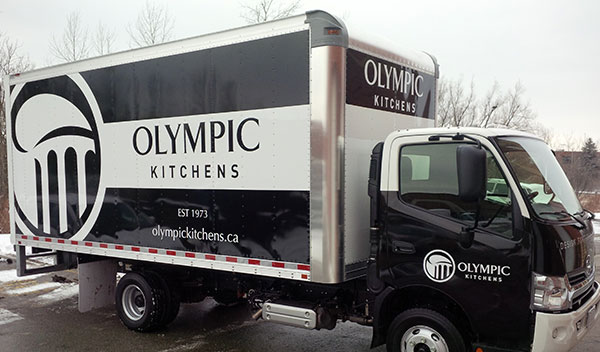 vinyl wraped large box truck