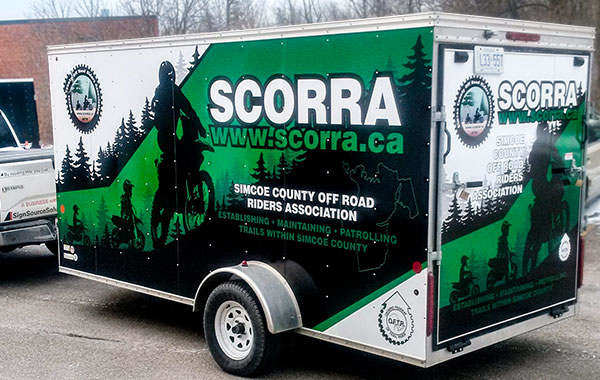 vinyl wrapped box trailer for SCORRA Motorcycle Club Trailer